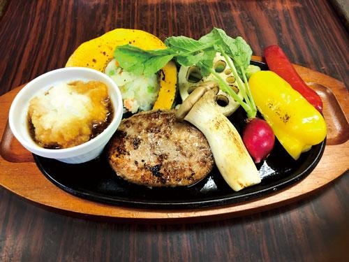 米沢牛100%ハンバーグ秋野菜添えおろしポン酢