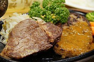 栗の里人気ナンバー3!大人気のハンバーグ&ステーキセットです。