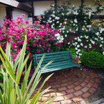 緑のベンチと白バラで暗くなりがちな印象を、ピンク色の差し色で鮮やかにイメージチェンジしました。