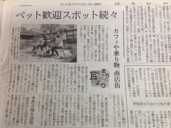 """5月13日掲載 """"バラに囲まれながらワンちゃんと食事""""と掲載!"""