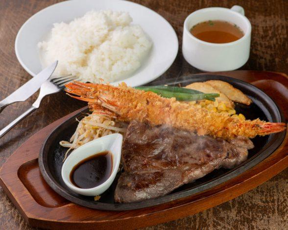 米沢牛ロースステーキと有頭エビフライ ライス付き 3,000円